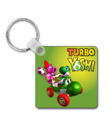Turbo Yoshi - Square Custom Printed Keyring from Mario Kart